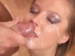 Naked Blonde Gets Facial After Giving Blowjob