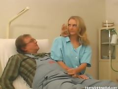 Sexy blonde doctor has sex with an awkward repairman
