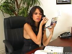Sexy brunette Shy Love gets fucked on a desk in an office tube porn video