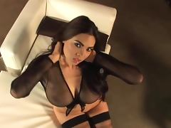 Luscious Tera Patrick shows her tits in hot solo video porn tube video