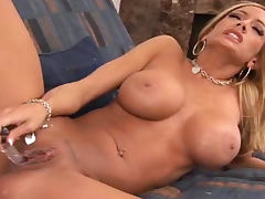 Milf is alone for dildo fucking