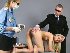 Shy blonde gets airport strip searched