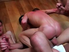 Gay orgy in sweaty sauna room