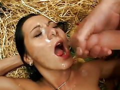 Girls into gangbang and cum swallowing