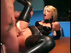 Uniformed babe sex in gloves and latex lingerie porn tube video