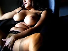 Smoker in lingerie and stockings is sexy tube porn video
