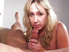 Busty mature blonde blowjob
