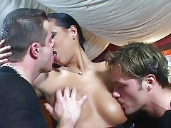 Young blowing chick with hot tits