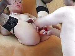 Blonde bimbo swallows giant boner