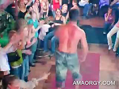 Sexy muscled stripper dancing at a CFNM sex party porn tube video