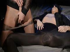 Blindfolded, Blindfolded, Brunette, Lesbian, Strapon, Thong