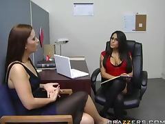 Sexy brunette Jenaveve Jolie fucks Cheyne Collins in her office tube porn video