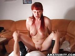 Redhead amateur wife sucks and fucks tube porn video