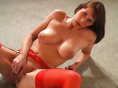 Milf in red lingerie gets gagged and fucked