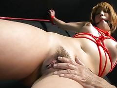Bondage fingering play with tied up