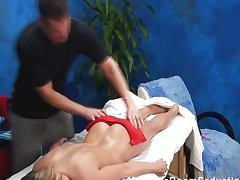 Blonde girl fucked in massage room