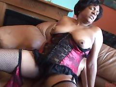 Hairy Ebony Babe Fucks With a Guy in a Raunchy Scene porn tube video