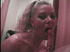 Deborah Valentine blowing a lucky guy