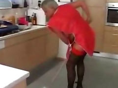 Grey Haired Granny In Red Top Stockings Cleans Up