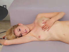 Hot blonde Maggie Ross posing and playing with herself