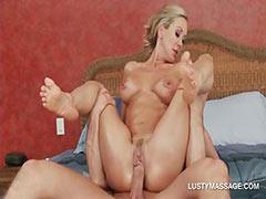 Blonde slut riding masseurs huge dick in close up