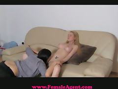 Busty blonde seduced by female agent