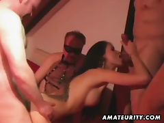 Hot amateur girlfriend with 4 cocks Many cumshots