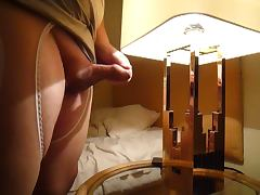 Cumming on glass table tube porn video