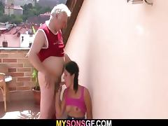 Horny dad bangs his son's GF porn tube video