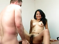 Brunette with hairy pussy Andrea Kelly is gorgeous porn tube video
