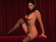 Hot brunette Carlotta Champagne feels happy to show her body porn tube video