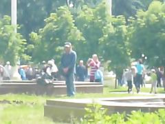 Russian homeless man masturbates in the park tube porn video