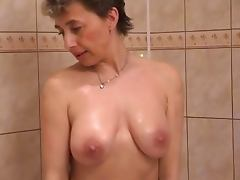 Horny milf in shower sex