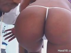 Passionate black MILF getting a big fat cock in her both pink holes