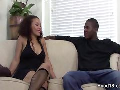 Beautiful girl in fishnet stockings fucking a horny handsome guy on bed