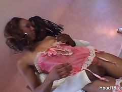 Attractive black girl getting her delicious vagina filled with a stiff dick