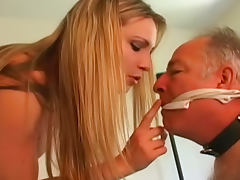 Old fart is sucking rubber cock of his cute lady porn tube video
