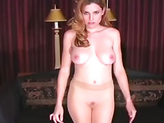 Ginger dolly takes off her cute tight nylons