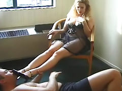 Hot busty blonde staying on the face of her slave tube porn video