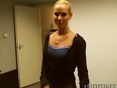 Brunette honey Cameron and blondie Sandy are in our office