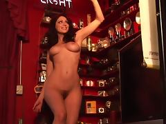 Luscious Carlotta Champagne poses naked on the bar porn tube video