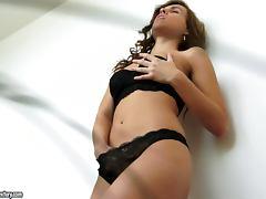 Sizzling honey spreads her legs and masturbates