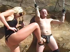 Blonde dominating over her tied slave tube porn video
