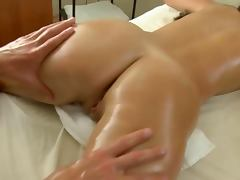 Babe gets fucked after oral during massage by masseur