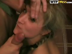 Slutty blonde gets fucked hard by two dudes in homemade clip tube porn video