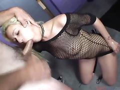 Blonde In Fishnet Outfit Sucks Cock