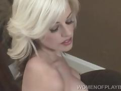 Alana Cragin the busty blonde in stockings posing for the cam
