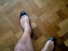 Cum in ballet flats heels and wife's shoes