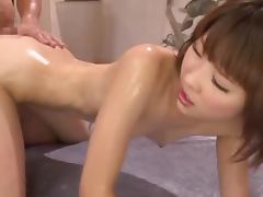 Oiled up Miki Nonohara enjoying some really insane cock sucking