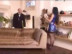 Housemaid gets fucked in threesome